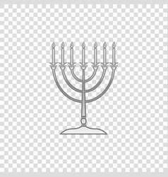 silver hanukkah menorah isolated object vector image