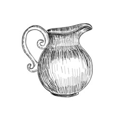 sketch of milk jug isolated hand drawn vector image