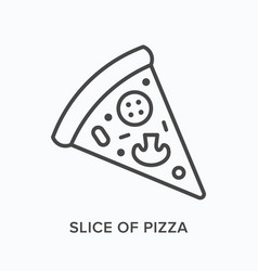 Slice pizza flat line icon outline vector
