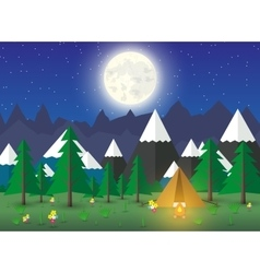 Summer Campsite with a campfire vector image