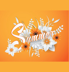 Summer lettering with paper art flowers vector