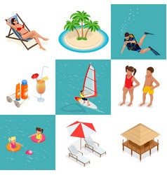 summer set travel elements of sandy beach flat vector image vector image