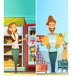 Supermarket Shopping 2 Vertical Retro Banners vector image
