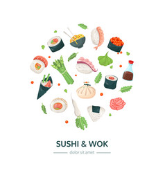 Sushi and wok - colorful flat design style banner vector