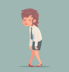 Tired disheveled businesswoman sad weary woman vector