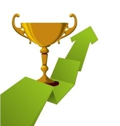 Trophy gold winner arrow design vector
