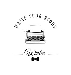 Typewriter badge writer logo vector