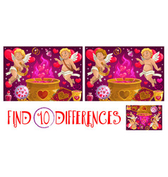 valentine day find ten differences game with cupid vector image