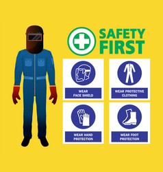 Welder worker safety first design vector