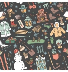 Winter doodle seamless patternColored elements vector
