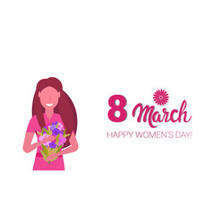 woman holding bouquet flowers happy women day 8 vector image