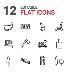 wood icons vector image