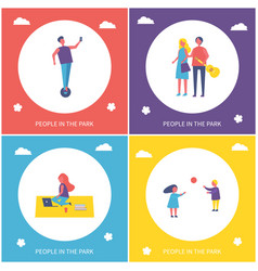young people resting in park cartoon banner set vector image