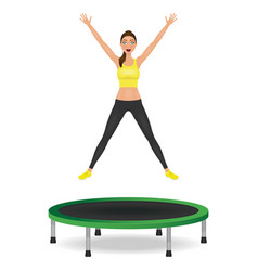 Young woman jumping on trampoline pretty fit girl vector