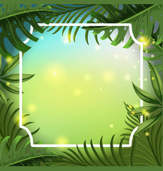 border template with green leaves vector image vector image