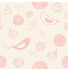 Floral seamless pattern in retro style with birds vector image vector image