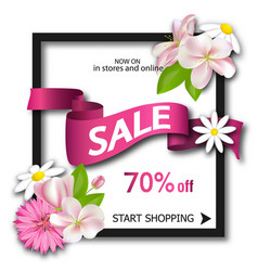 sale background with pink ribbon and flowers vector image vector image