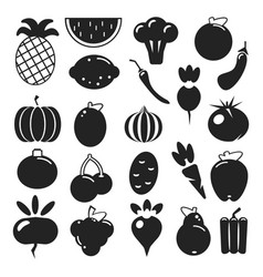set black silhouette various fruits and vegetables vector image