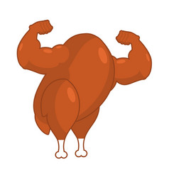 strong roasted turkey powerful fried fowl vector image