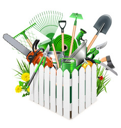 white wooden fence with garden accessories vector image vector image