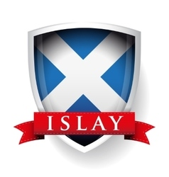 Flag of Scotland with Islay sign on ribbon vector image vector image