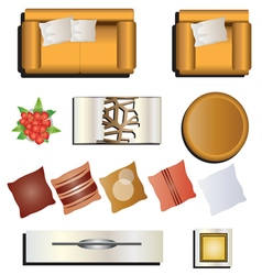 Living room furniture top view set 7 for interior vector image vector image