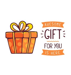 Great red gift box with title awesome gif vector