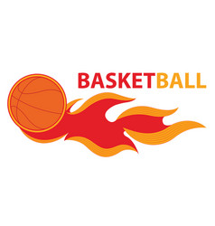 basketball sport comet fire tail flying logo vector image