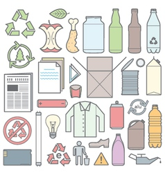 color outline separated waste outlines icons and vector image
