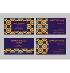Golden and sapphire business-card set vector image