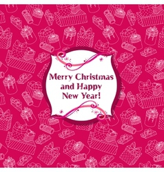 Greeting Christmas card with seamless presents vector image