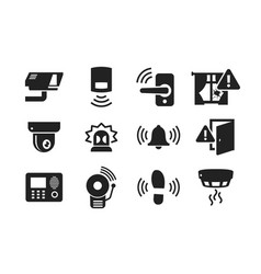 home security sensors icons set vector image vector image