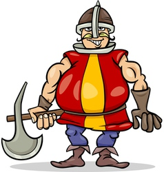 knight with axe cartoon vector image vector image