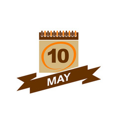 10 may calendar with ribbon vector