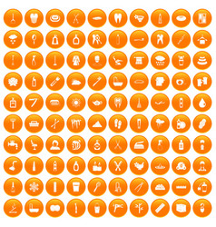 100 hygiene icons set orange vector
