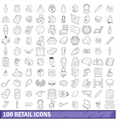 100 retail icons set outline style vector