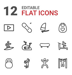 12 active icons vector