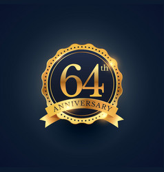 64th anniversary celebration badge label in vector