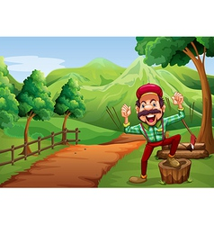 A cheerful woodman near the pathway going to the vector