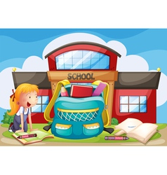 A girl with her bag at the school ground vector image