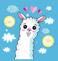 A lovely funny portrait an alpaca vector