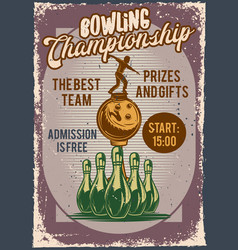 advertising bowling competition vector image