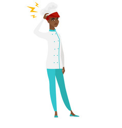 african chef cook with lightning over her head vector image