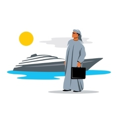 Arab sheikh on the background of yachts vector