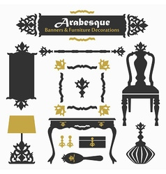 Arabesque silhouette furniture design elements set vector