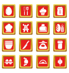 Bakery icons set red square vector