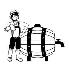 bavarian man with beers barrel vector image