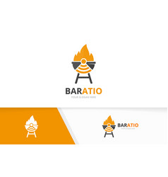 Bbq and wifi logo combination grill vector