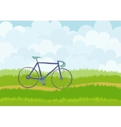 Beautiful simple cartoon meadow with racing bike vector