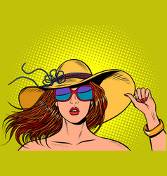 beautiful woman in a wide brimmed hat and vector image
